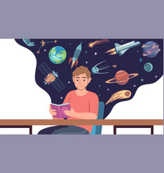 man read space book young male character vector image
