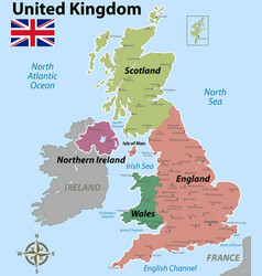 Map united kingdom with counties vector