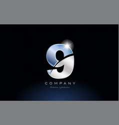 metal blue number 9 logo company icon design vector image