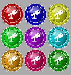 Microphone Speaker icon sign symbol on nine round vector image
