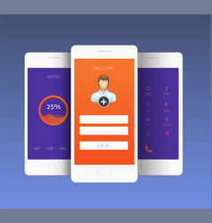 Mobile screens sign in vector