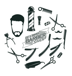 Monochrome vintage barber shop elements concept vector