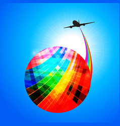 Multicoloured globe with airplane silhouette and vector