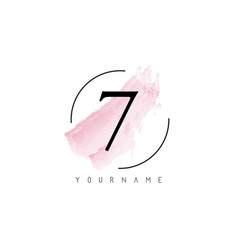 Number 7 watercolor stroke logo design vector