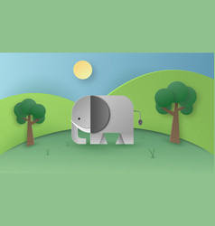 Paper art of wild elephant in the forest digital vector