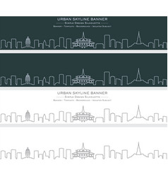 phnom penh single line skyline banner vector image