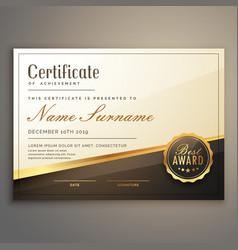 Premium certificate template design vector