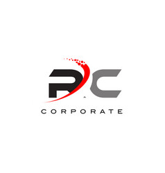 Rc modern letter logo design with swoosh vector