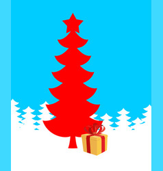 red christmas tree and gift of new year xmas vector image