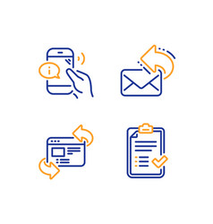 Refresh website call center and share mail icons vector