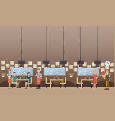 romantic date in restaurant flat vector image
