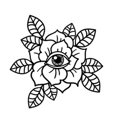 Rose and eye tattoo with sacred geometry frame vector