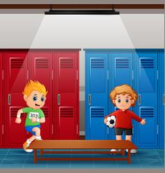 School children in locker room after activity vector