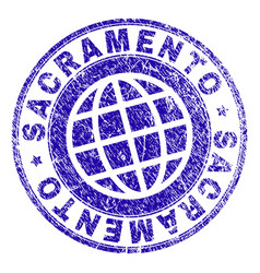 Scratched textured sacramento stamp seal vector