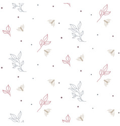 Seamless foliage and moths pattern with tiny small vector