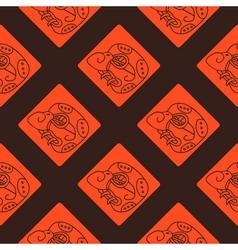 Seamless pattern with Maya hieroglyphs vector