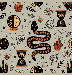 Seamless pattern with mystical elements vector