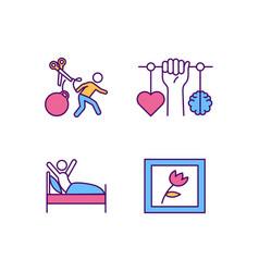 Self-improvement rgb color icons set vector