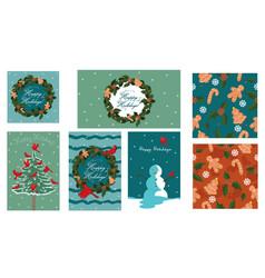 set christmas elements postcards banners vector image