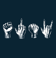 Set female wrists hand gestures with tattoo vector