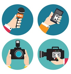 Set of icons with hands holding voice recorders vector image