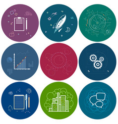 set of round business iconsline style vector image