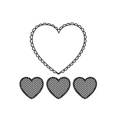 Silhouette hearts design background icon vector