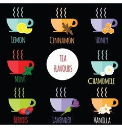 Tea flavours types Different Tea tastes in cups vector