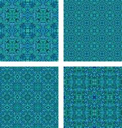 Teal seamless mosaic pattern set vector