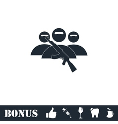 Terrorist balaclava mask icon flat vector image