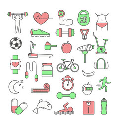 thin line art style design sport icon set vector image