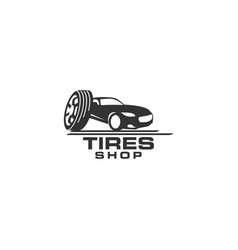 tires shop logo design template silhouette sport vector image