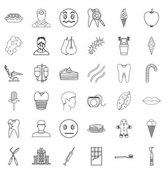 tooth icons set outline style vector image