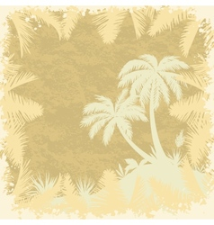 Tropical palms trees and leaves silhouettes vector image