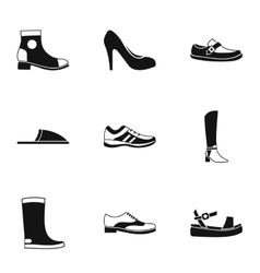 Types of shoes icons set simple style vector