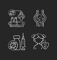 vaccination chalk white icons set on black vector image