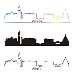 Venice skyline linear style with rainbow vector
