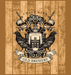 vintage brewery coat arms on a wooden background vector image