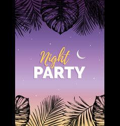 Vintage night beach party vector