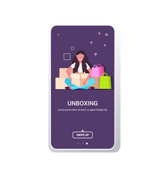 Woman blogger opening parcel boxes recording vector