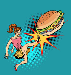 Woman kicks burger fastfood and healthy food vector