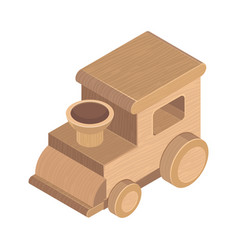 wooden train toy on white background vector image