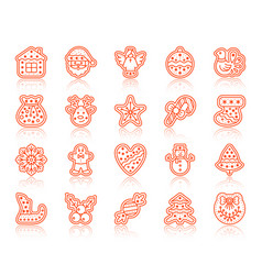 Xmas gingerbread simple color line icon set vector