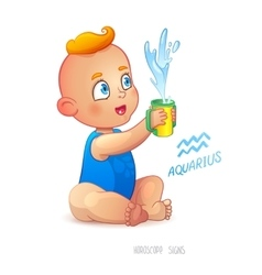Zodiac sign aquarius happy babyboy enjoys vector