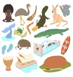 Australia icons set cartoon style vector image
