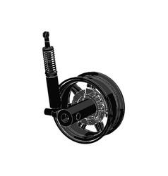 black wheel on white background vector image vector image
