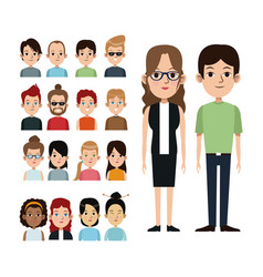 Cartoon couple with portrait group people vector