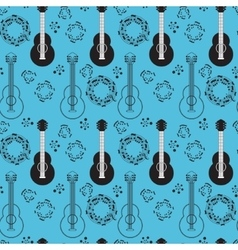 Classical acoustic guitar seamless pattern vector image