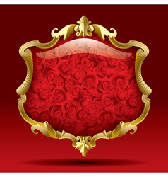 Gold frame with roses vector image vector image