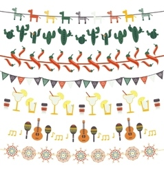 Hanging festive mexican banners flags garlands vector image vector image